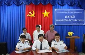 BTL Vùng Cảnh sát biển 4, Cụm ĐNPCTP ma túy số 4 ký kết phối hợp tuyên truyền với Đài PTTH Cà Mau, Báo Cà Mau