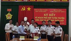 BTL Vùng Cảnh sát biển 3 và Ban Tuyên giáo Tỉnh ủy Bình Thuận ký kết Bản ghi nhớ phối hợp, Kế hoạch tuyên truyền