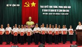 BTL Cảnh sát biển trao quyết định thăng quân hàm, nâng lương năm 2015