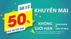 Viettel khuyến mại nạp thẻ 50% ngày 30/12/2016