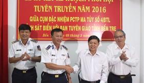 Cụm ĐN PCTP ma túy số 4 và Ban Tuyên giáo Tỉnh ủy Bến Tre ký kết phối hợp tuyên truyền biển, đảo năm 2016