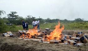 BTL Vùng Cảnh sát biển 1 tiêu hủy gần 70 ngàn bao  thuốc lá ngoại nhập lậu