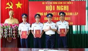 Bộ Tư lệnh Vùng Cảnh sát biển 3 công bố quyết định thành lập khung tàu mới