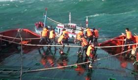 Cứu 12 thuyền viên trên tàu cá bị chìm đưa về đảo Phú Quý