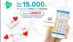Giảm ngay 15.000 VNĐ khi mua thẻ quà tặng URBOX trên Vietelpay